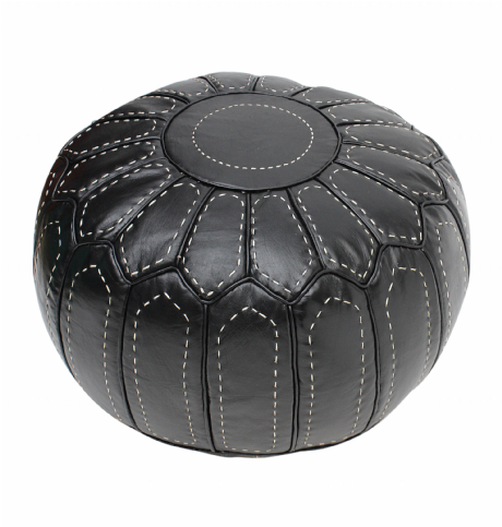 Moroccan Black Pouffe Pouf Ottoman Footstool COVER ONLY or STUFFED Real Leather Hand Stitched
